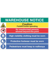 Warehouse Safety Caution Forklift Trucks - Hivis - Boots must be Worn