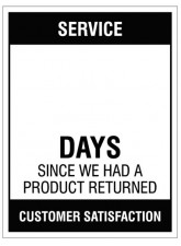 """Small Wipe Clean Board """"Service (Write Number) Days since a Product Return"""""""