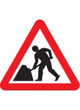 Fold Up Sign - Men At Work with Text Variant Options - 600mm Triangle
