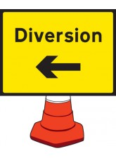 Diversion Left Cone Sign - 600 x 450mm
