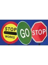 Stop Works Lollipop Sign 450mm Dia - 1500mm Pole