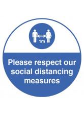 Respect Social Distancing Floor Graphic - 1m / 2m / Generic Distance Options