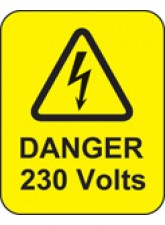 Danger 230 Volts Labels