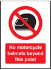 No Motorcycle Helmets Beyond this Point - Window Sticker - 75 x 100mm