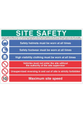 Site Safety Board - Hard Hat - Hivis - Boots - 10mph